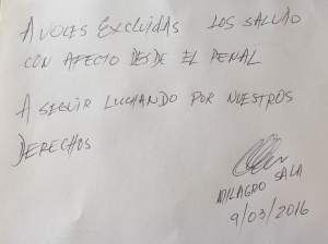 MILAGRO SALA LE ENVIÓ UNA CARTA DESDE LA CÁRCEL PARA EL BLOG VOCES EXCLUIDAS